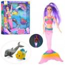 Кукла 874 (24шт)  DP, русалочка 36см-муз, свет, рыбка 6см, дельфин 12см, на бат(таб),в кор,30-33-6см