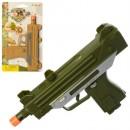 Пистолет 33910 (216шт) 17,5см, свет, звук, 2цвета, бат(таб), на листе