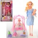 Кукла 2912 (90шт) беременная27см,с дочкой10см,наряд,пупс,кроватка