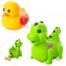 Заводная игрушка 823C-5C (144шт)ездит,несет яйца,яйцо3шт,2вид(утка,динозавр),в кул,14,5-16-7см