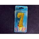 Свічка цифра (золото) (5шт) 7