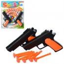 Н-р оружия 758-60 (288шт) пистолет, пули-присоски, мишень, на листе, 21-25,5-2см