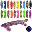 Скейт MS 0461-2 (10шт) пенни, 59-16см, алюм.подвеска, колесаПУ,свет, антискольз