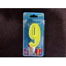 Свічка цифра (лимонний блиск) (5шт) 9