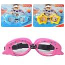 Очки для плавания 55603 (12шт) детские, 3-8лет,регул рем, 3 вида, на листе