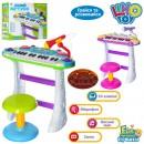 JT Пианино 7235 (8шт) на подставке,стул,микрофон,на бат-ке,в кор-ке,46-44-12см