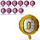 Цифра золото 0,шарик фольга 3903 (25/500шт) 45см