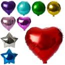Шарики надувные фольгированные MK 1343 (1000шт) 44см, 3вида(шар,сердце.звезда)