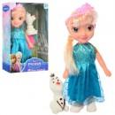 Кукла 008-4 (60шт) FR, 21см, муз, снеговик7см, расческа