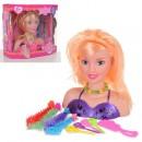 Кукла 1388-4 (24шт) голова для причесок, 18см, аксессуары для волос, 2вида, в кор-ке