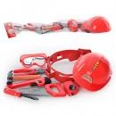 Набор инструментов T 110 (36шт) каска,пояс,пила,плоскогубцы,молоток,рулетка,отвер,в сетке, 21-75-9см