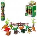 Динозавры 0015T (144шт) 12шт, от 6см, деревья, ограда, в колбе 26см, 12шт в дисплее, 22,5-26,5-16см