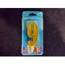 Свічка цифра (золото) (5шт) 9