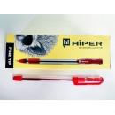 Ручка масл.Hiper Fine Tip HO-111 0,7мм червона (10/250/2000)