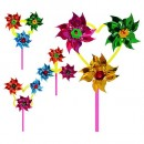 Ветрячок M 1747 (300шт) вертушка,11см,палочка28см,3цветка,фольга,4 вида,38-11-4см